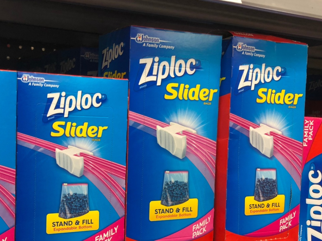 boxes of slider plastic storage bags on store shelf