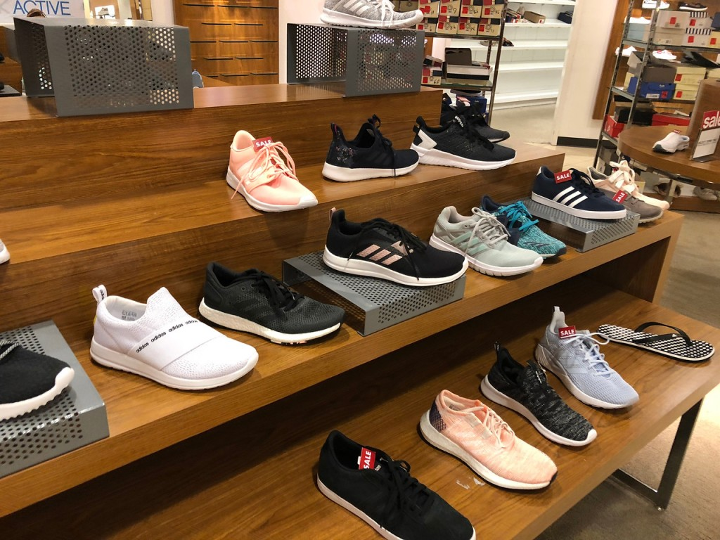 adidas women's shoes in store display