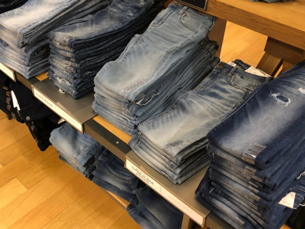 american eagle jeans folded on display in store