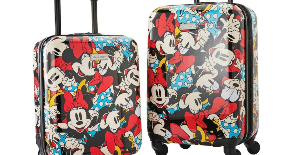 luggage featuring colorful minnie mouse cartoon characters