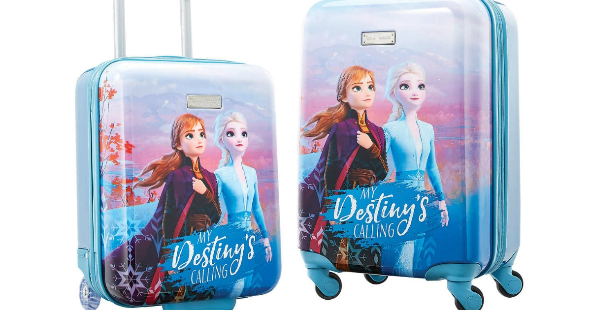 luggage featuring disney frozen anna and elsa