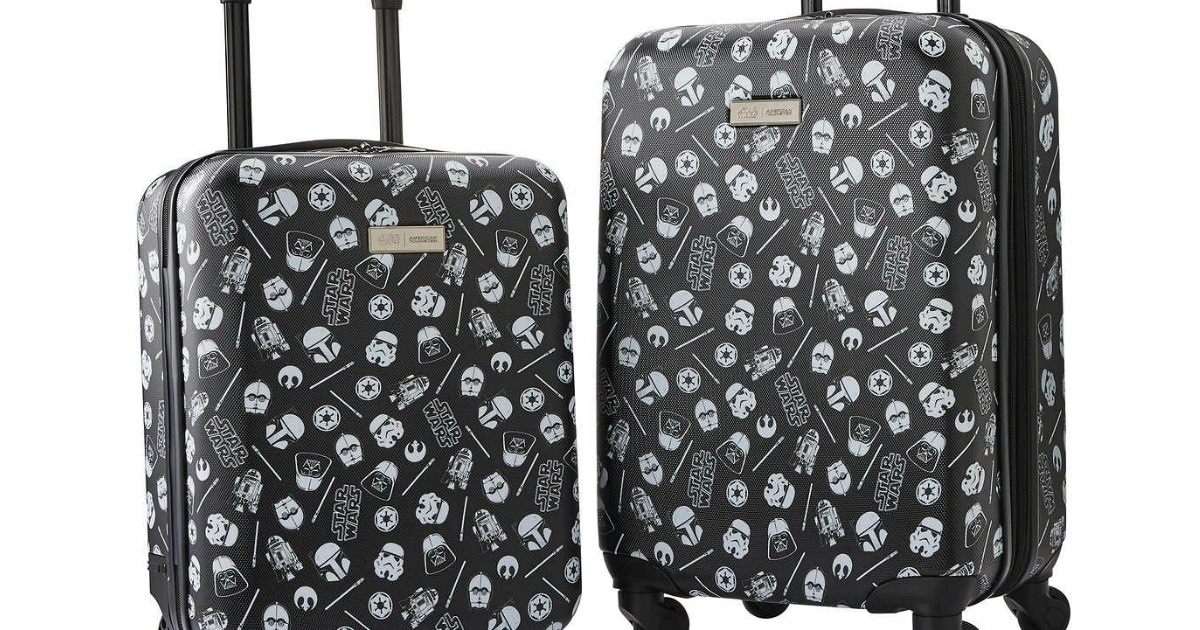 luggage featuring star wars logos