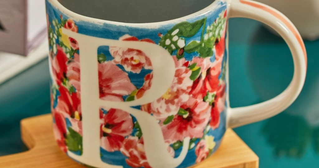 Floral watercolor anthropologie mug with R monogram