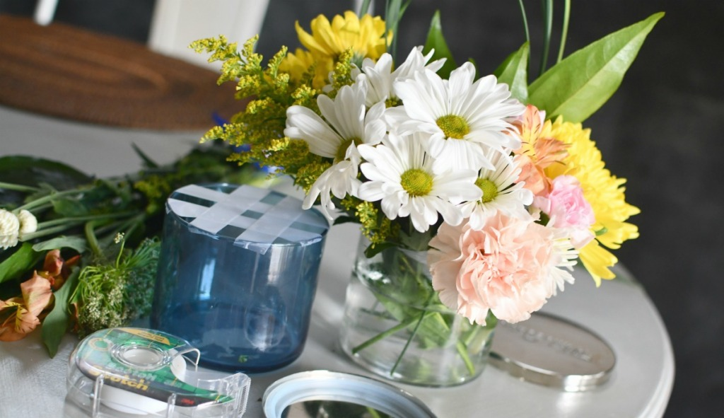 bath and bodyworks jar flower arrangement