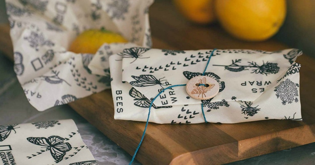 beeswax wrap with button