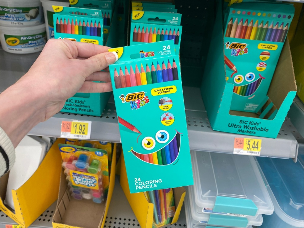 hand holding bic kids colored pencils pack in store