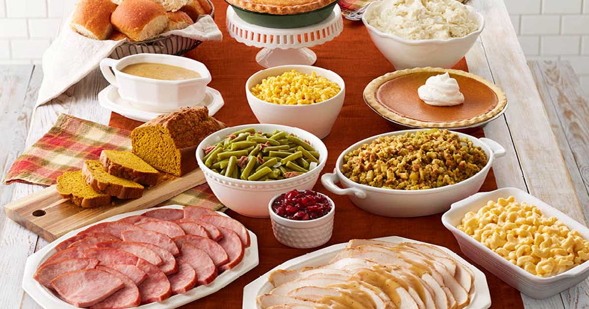 table filled with great looking food from bob evans
