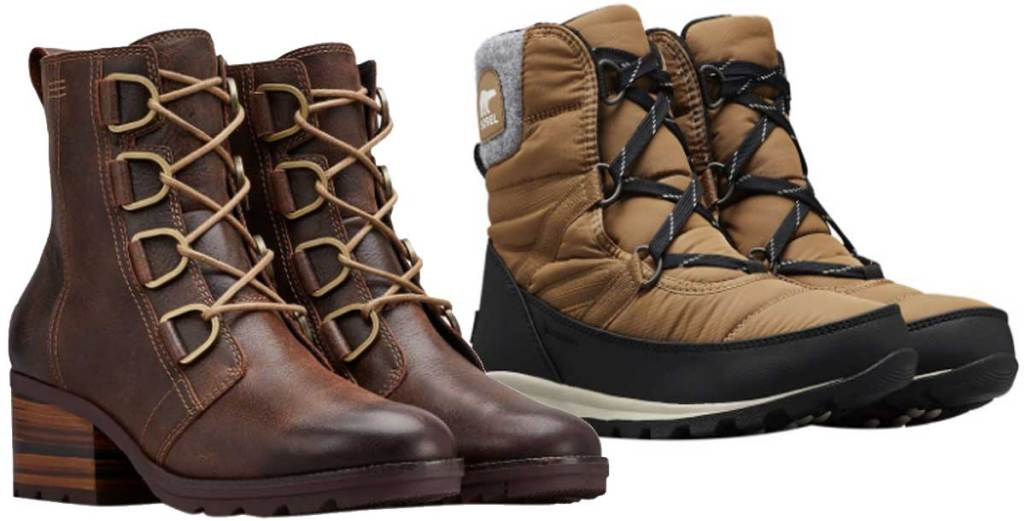 two pairs of sorel lace boots