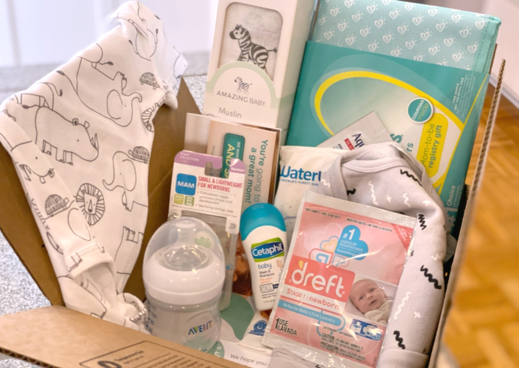 box of baby items