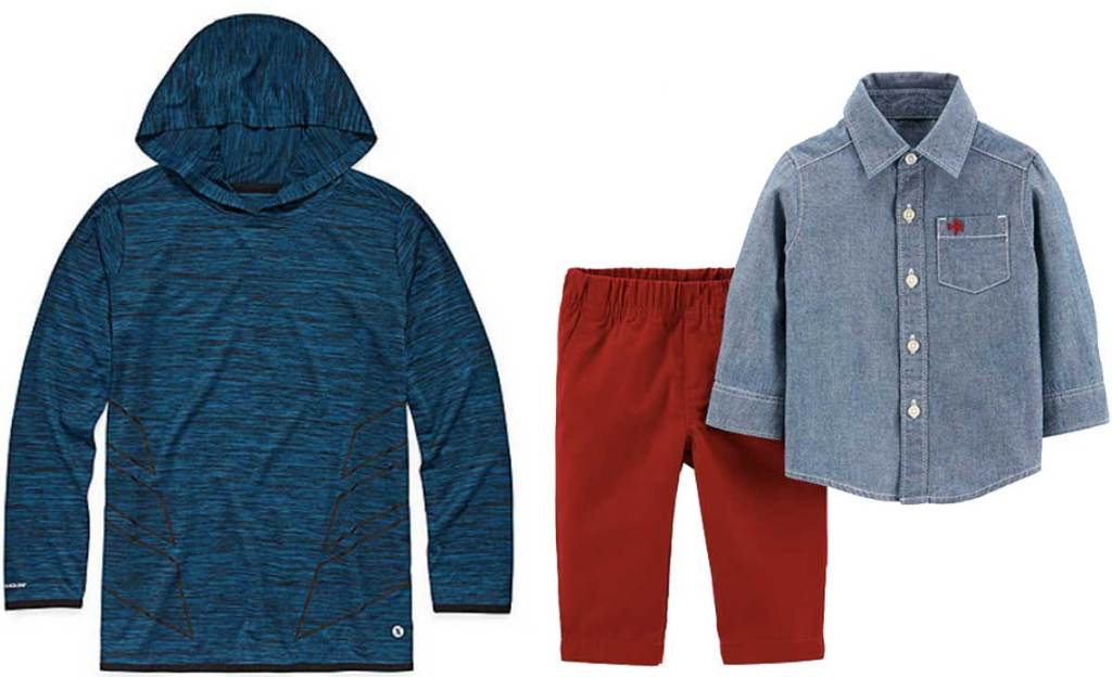 boys pullover and toddler boys shirt and pants outfit stock images