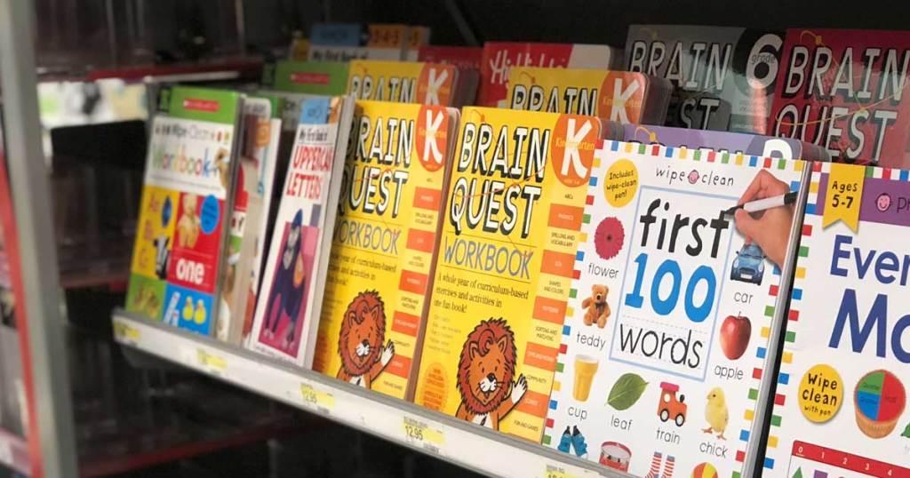 brain quest workbooks on shelf