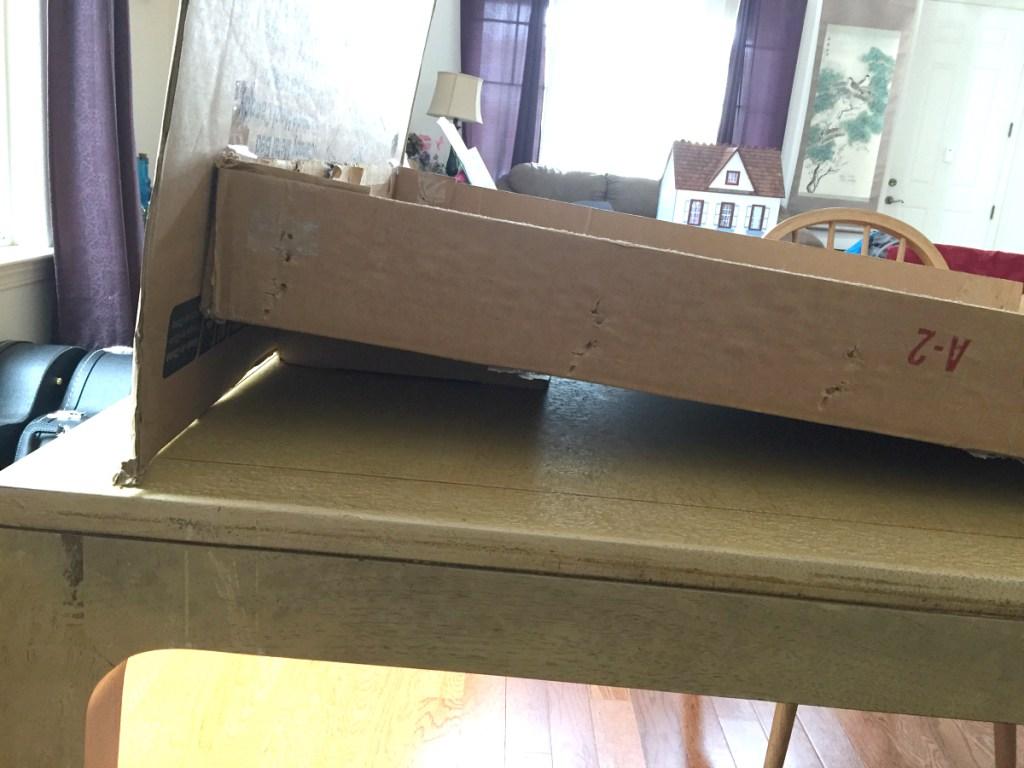 cardboard display on kitchen table