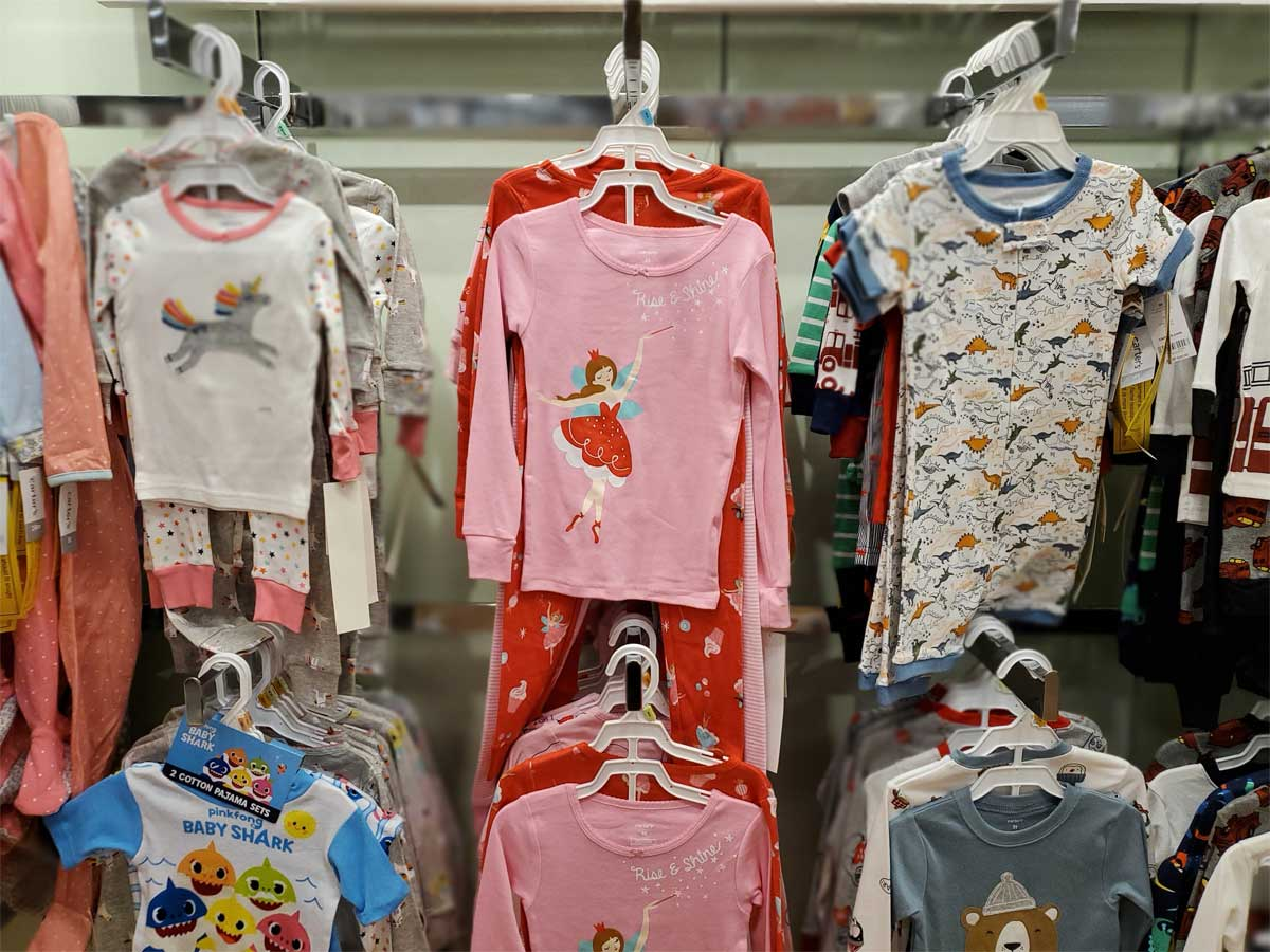 carters girls and boys snug fit pajamas on display in store