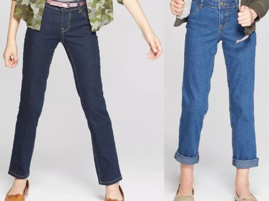 girls legs wearing jeans and slip on flats