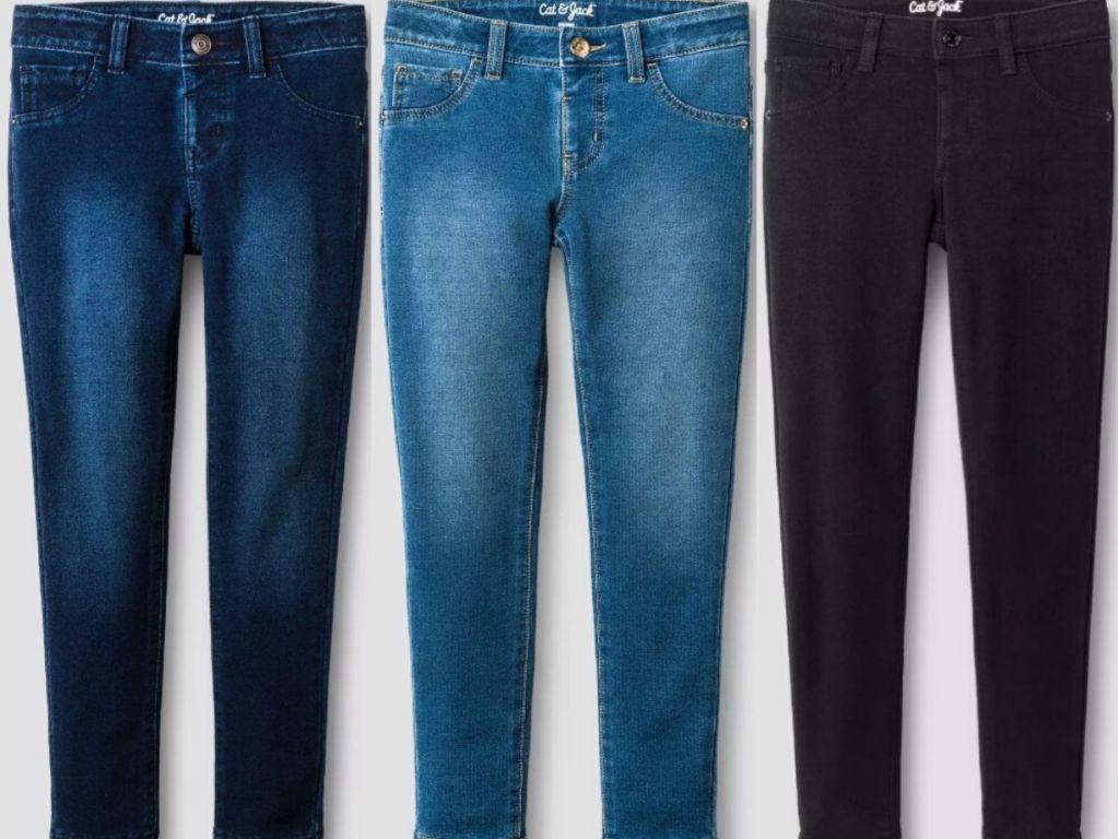 three pairs of girls jean leggings