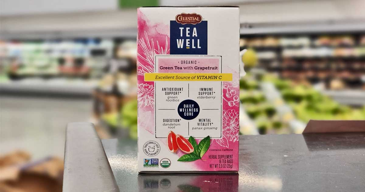 box of tea bags on checkout at store