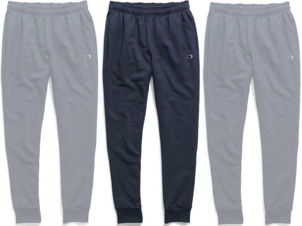 three pairs of men's terry jogging pants
