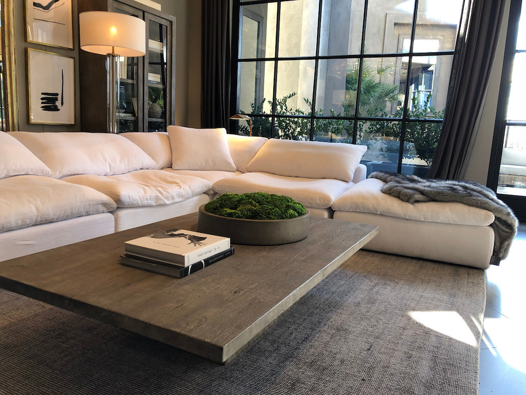 Restoration Hardware cloud couch with coffee table