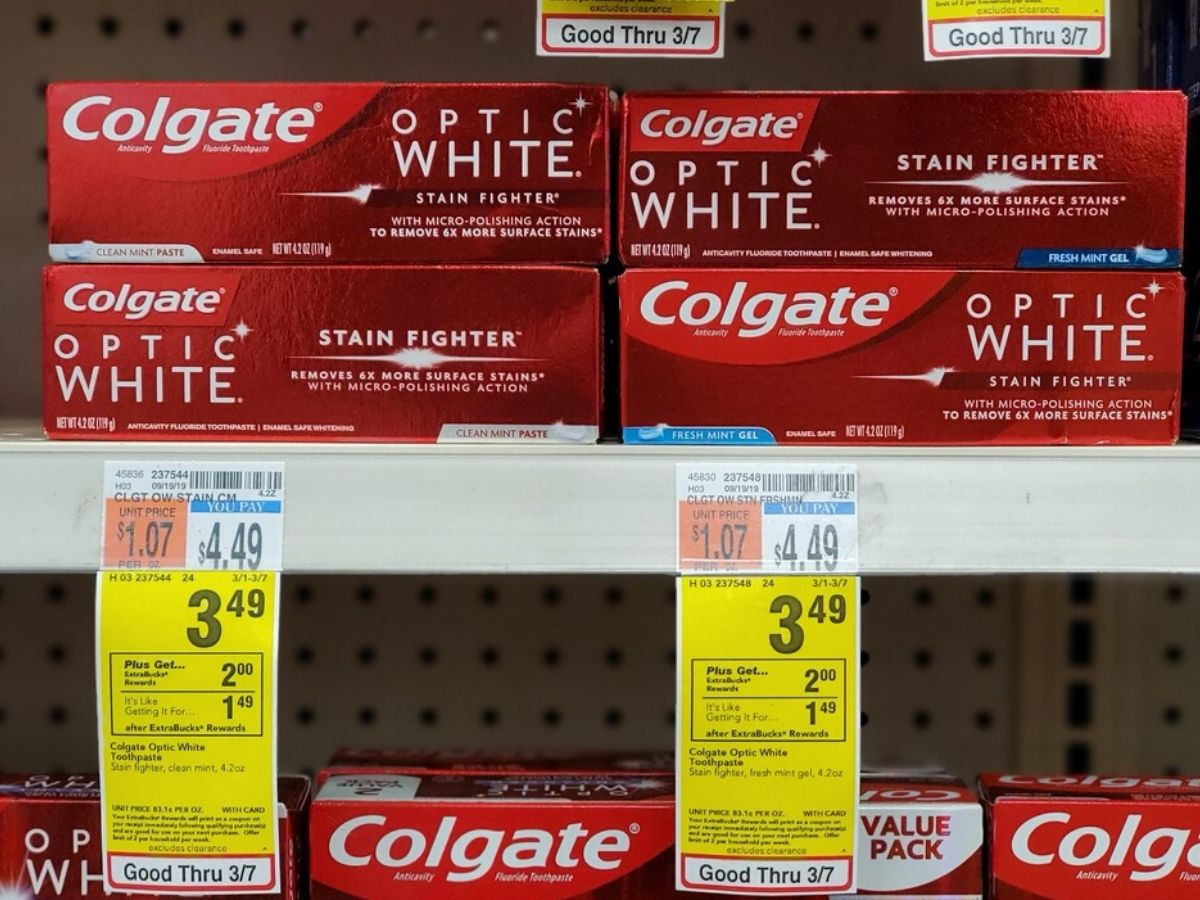 Colgate Optic White toothpastes on shelf