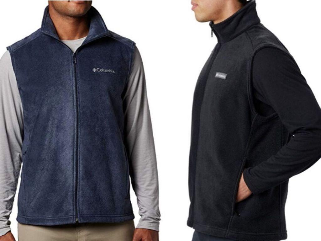 two men's torsos modeling fleece vests