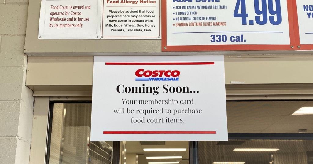 sign in Costco food court