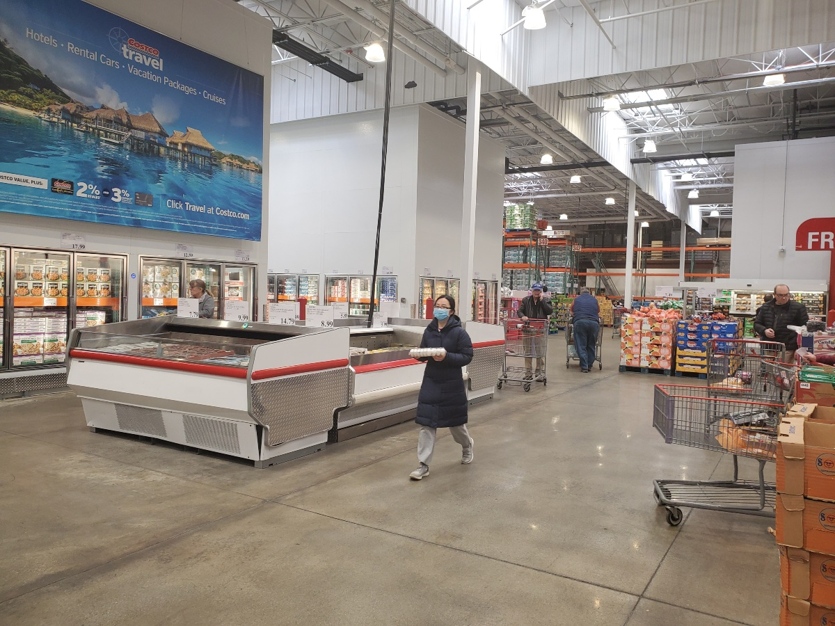 woman wearing mask inside Costco
