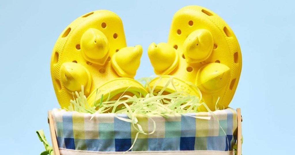 yellow Peeps Crocs in an Easter basket