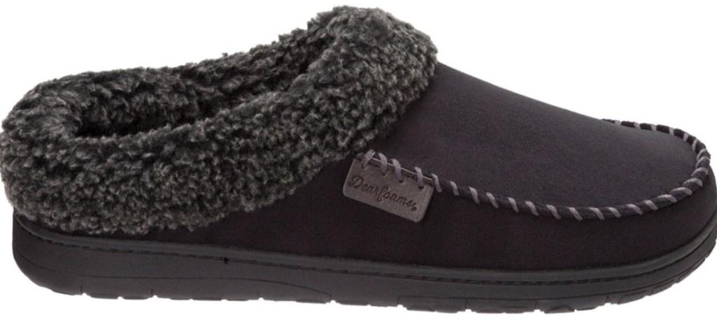 black fur-lined dearfoams slippers