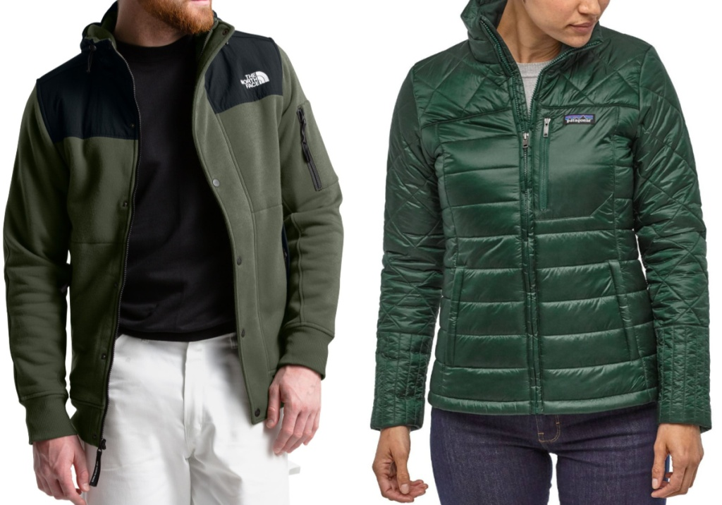 man wearing the north face jacket and woman wearing Patagonia coat