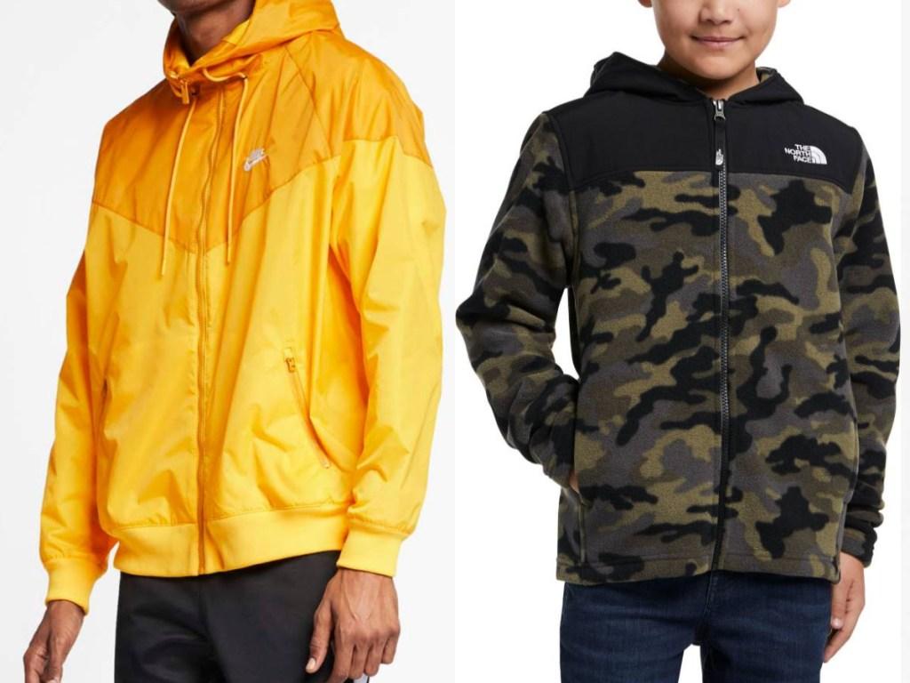 man wearing yellow nike jacket boy wearing camo fleece jacket
