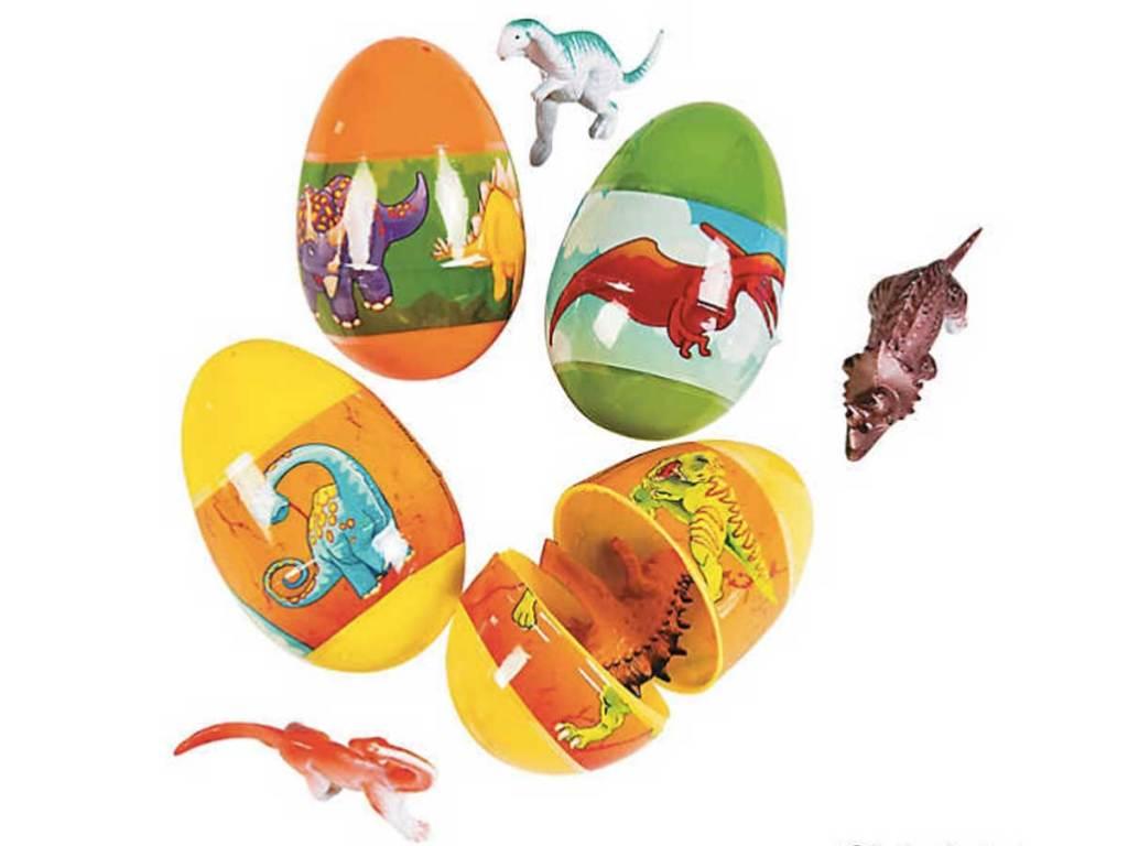 Jumbo Dinosaur Toy-Filled Plastic Easter Eggs 12ct