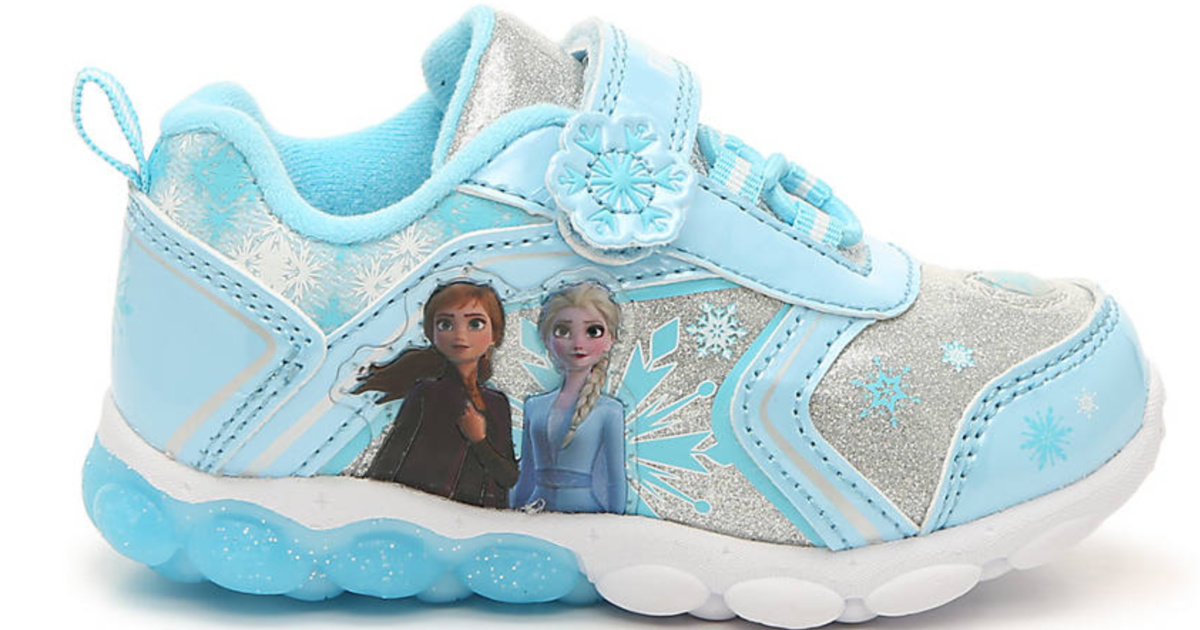 blue and white shoes with anna and elsa graphic on side