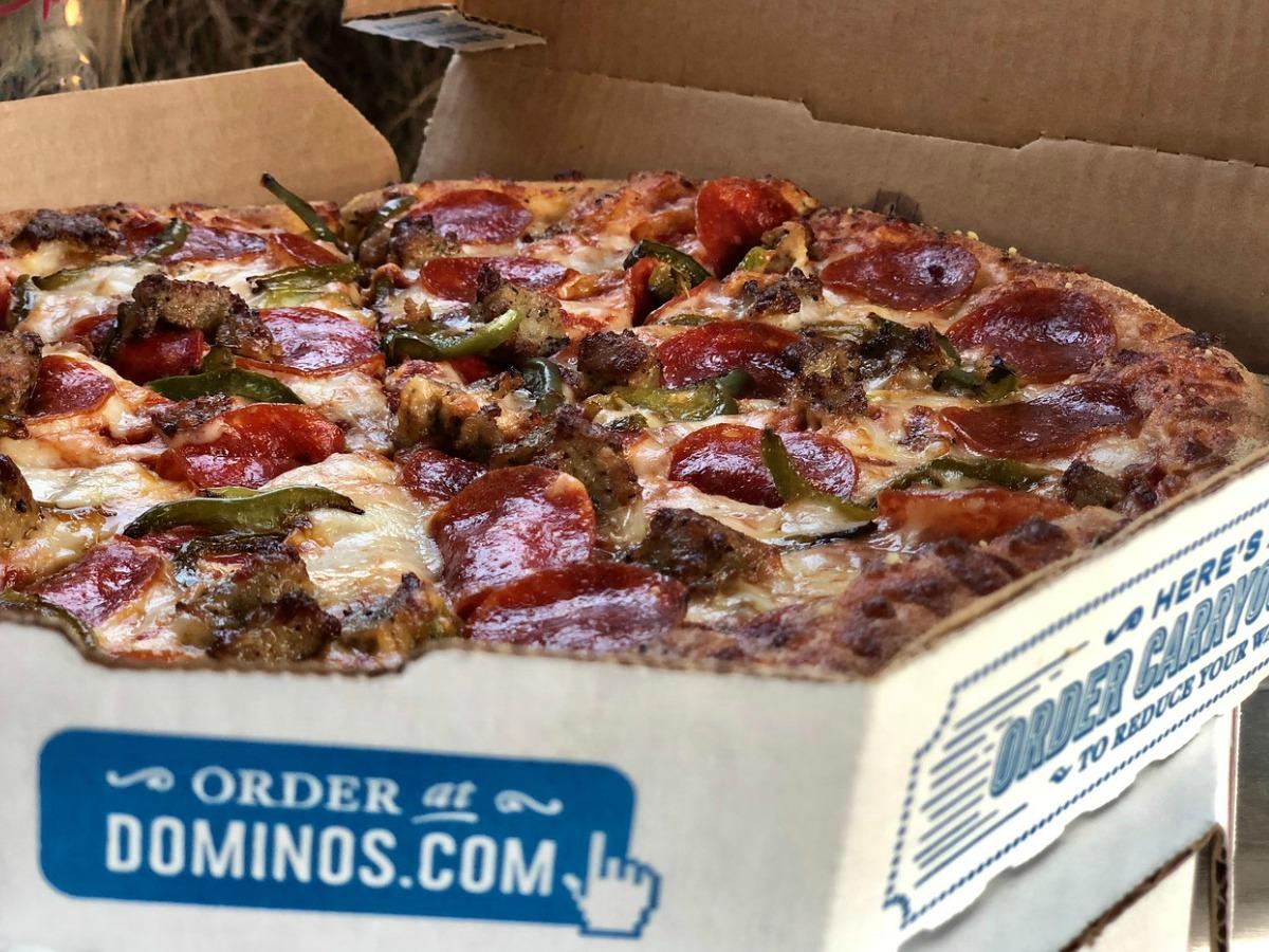 fresh pizza in box