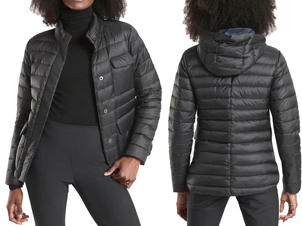 women wearing Athleta Women's Pulse Reversible Down Jacket