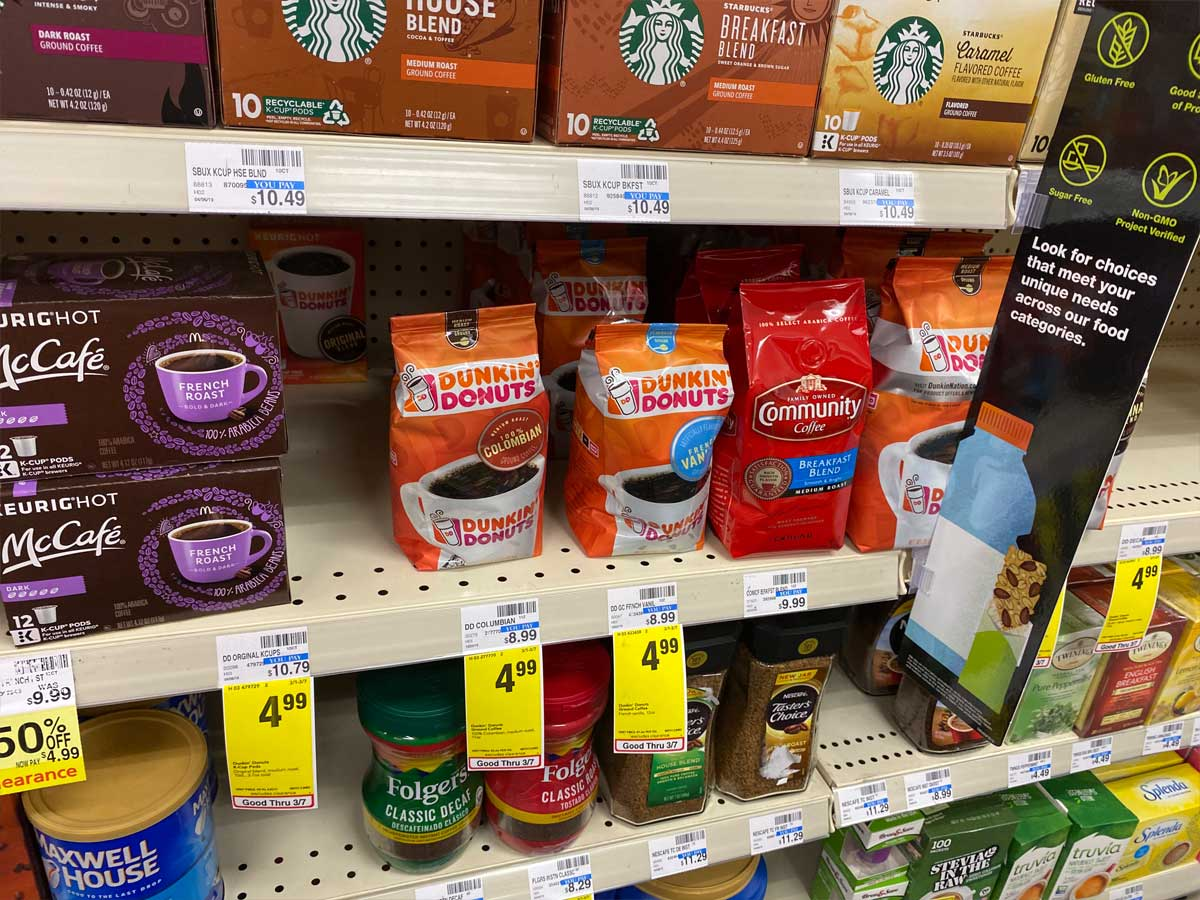 Dunkin Donuts Coffee on a shelf in store