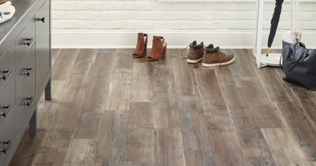 vinyl flooring with shoes on floor