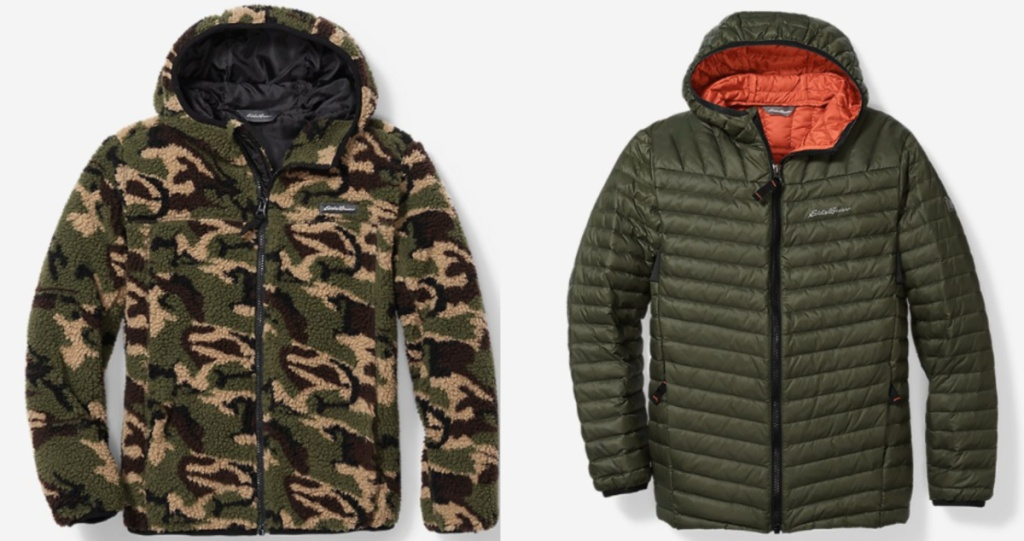 camo sherpa jacket and green eddie bauer jacket