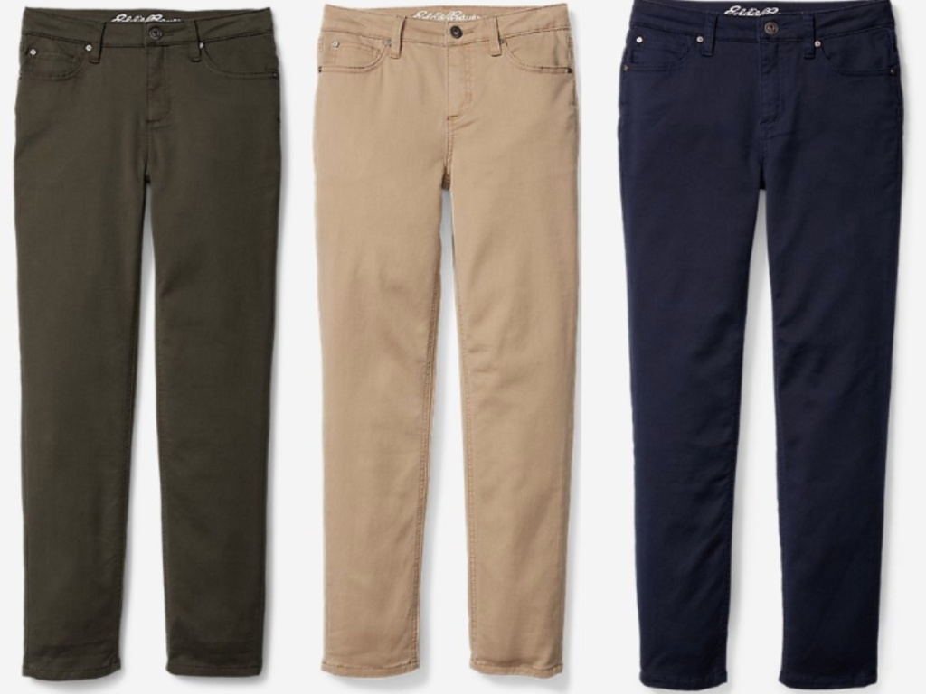 green, tan and blue eddie bauer pants