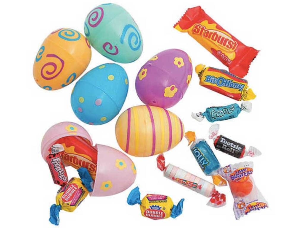 Pastel Printed Candy-Filled Plastic Easter Eggs 24ct