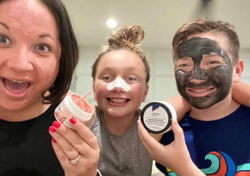 family in beauty face masks