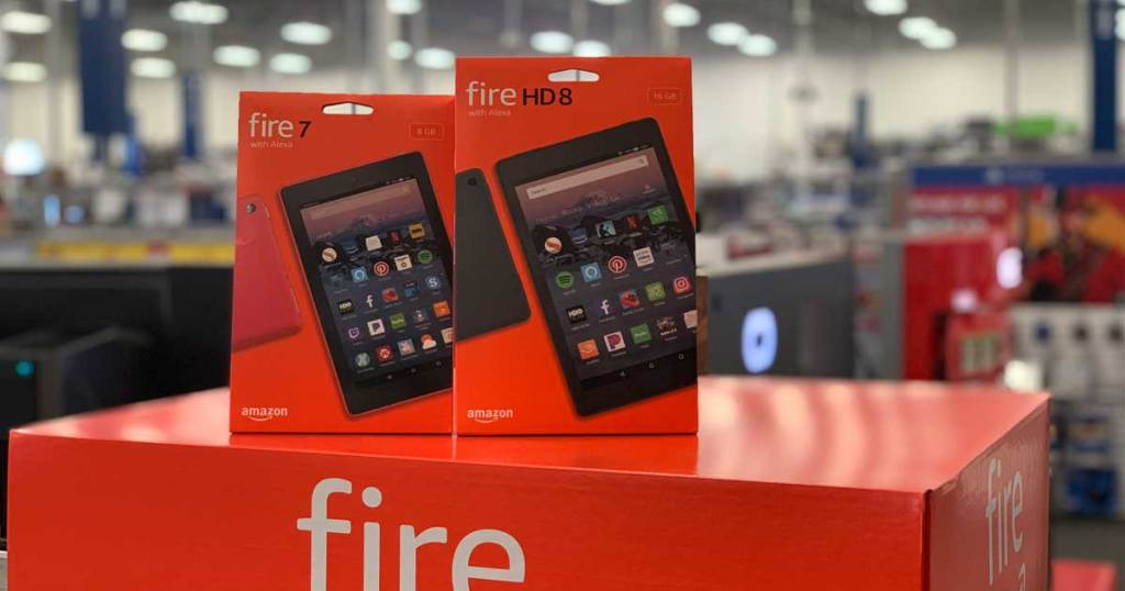 Amazon fire hd 8 on display in a store