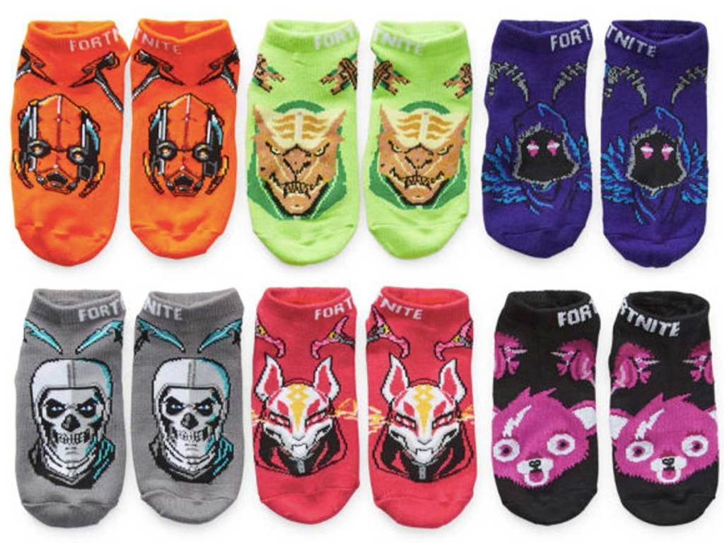 fornite socks in a six pair pack