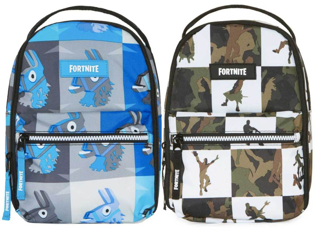 fortnite lunch bags in blue and brown