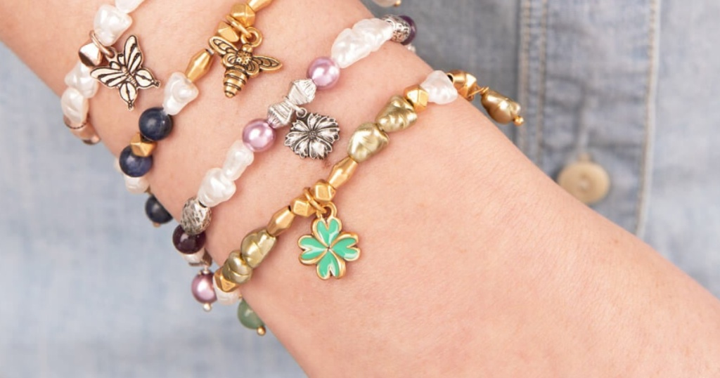 four leaf beaded charm bracelet alex and ani