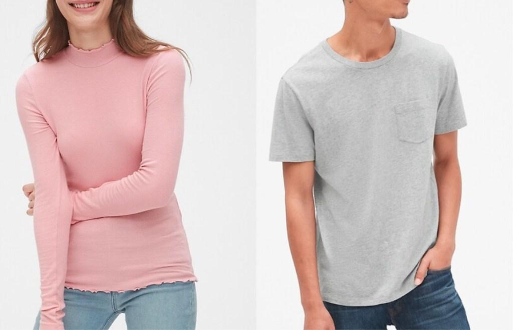 woman wearing pink shirt man wearing gray t-shirt