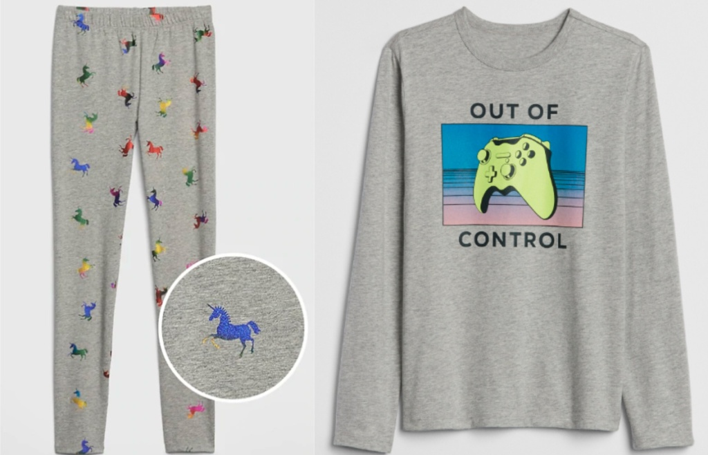 gray leggings with horses and gray game control graphic tee