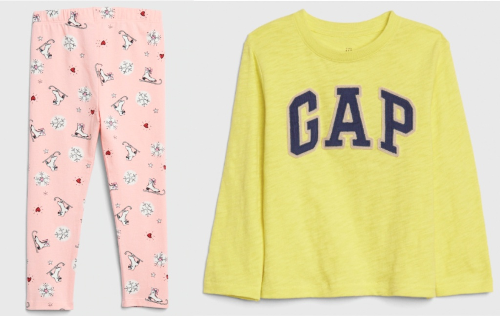 pink leggings with ice skates and yellow and blue gap tee
