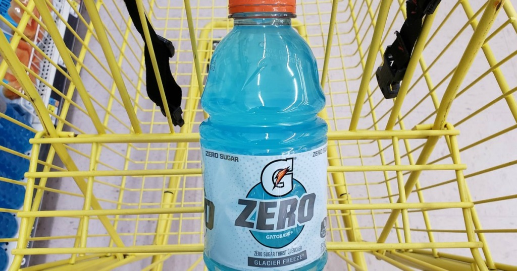 bottle of blue liquid in shopping cart