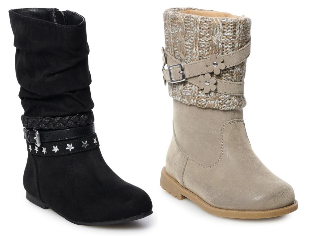 girls black book and girls tan boot