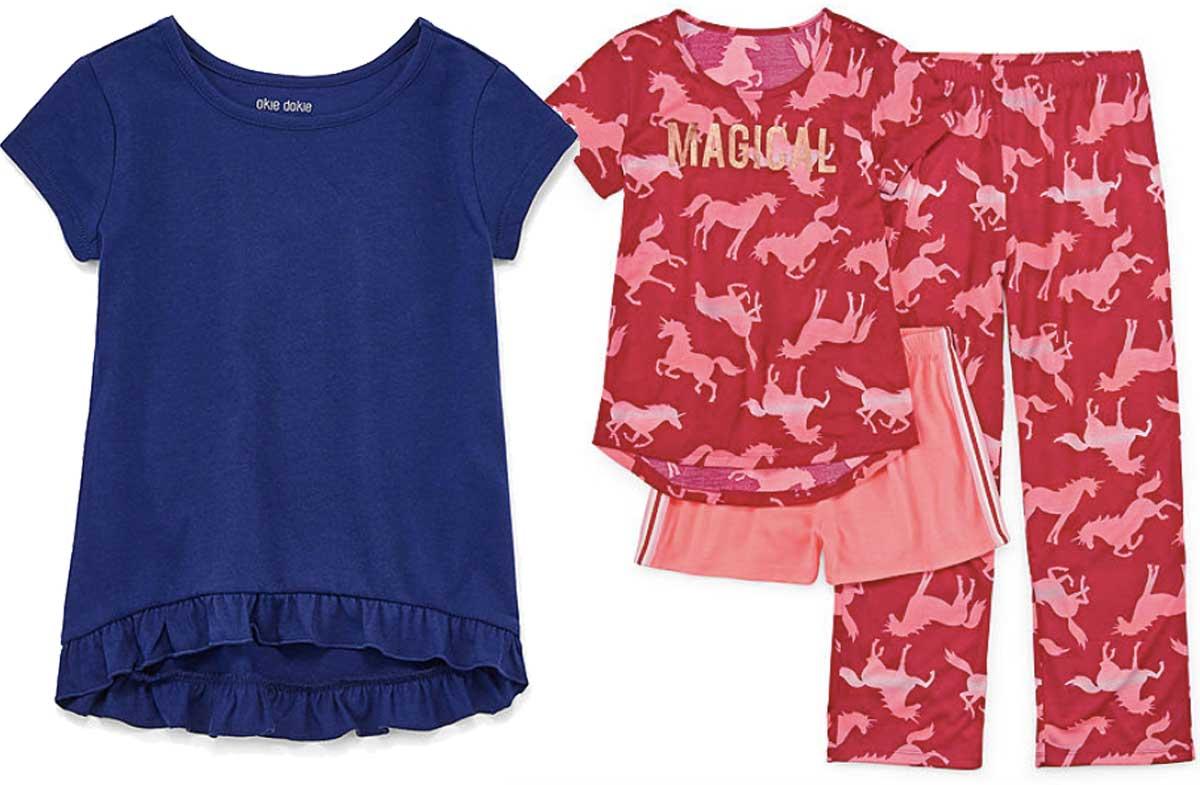 girls ruffled shirt and pajamas stock image